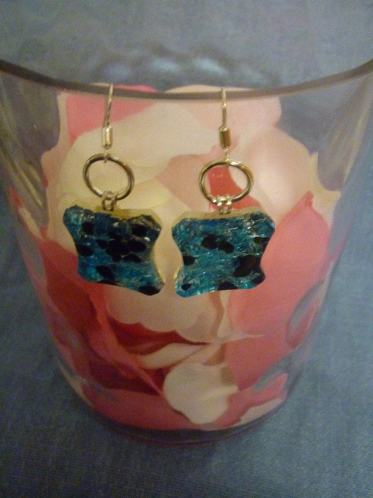 Orecchini azzurri in vetro di Murano seconda versione