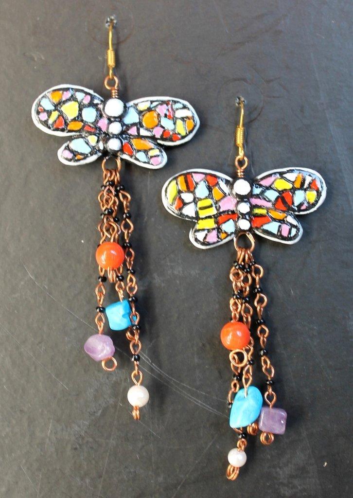 Orecchini libellule mosaico