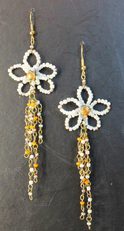 Orecchini perline fiori