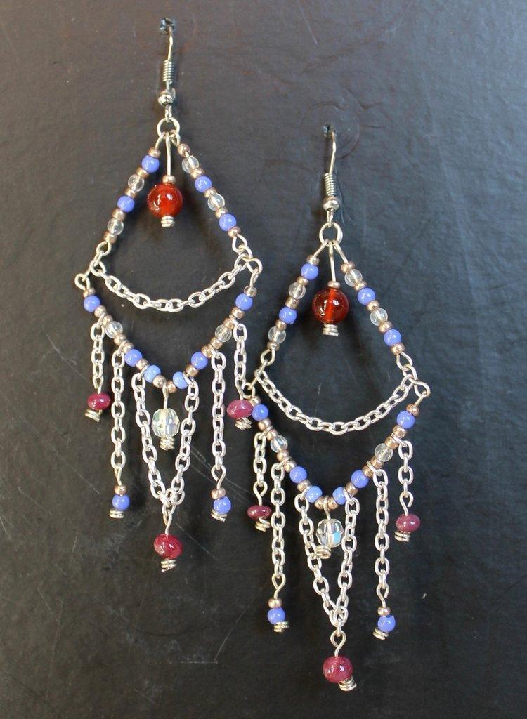 Orecchini rombi di perline