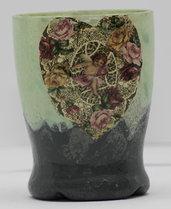 Bicchiere portacandele con puttino