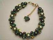 """""""Perle & Fiori"""" - Bracciale in perle e cristalli Swarovski"""
