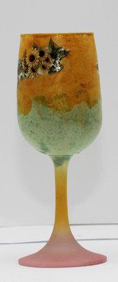 Bicchiere portacandele con girasoli