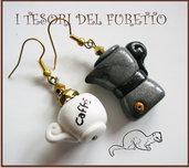 "Orecchini ""Fufumoka + tazza"" caffettiera e tazza da caffè Fimo cernit kawaii"