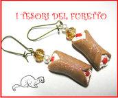 """Orecchini """"Cannoli siciliani"""" Kawaii fimo cernit"""