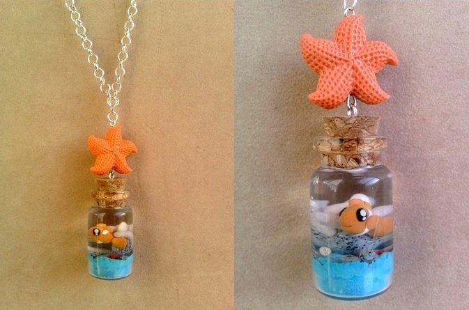 Collana con bottiglietta con Nemo fimo