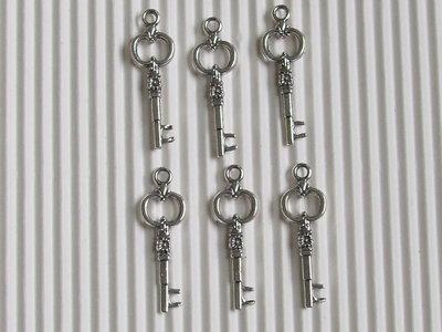 6  chiavi charms 28x8mm