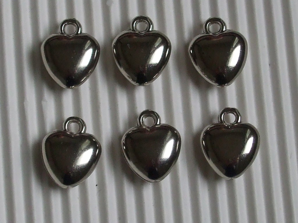 6 charms cuoricino resina 14x11mm vend.