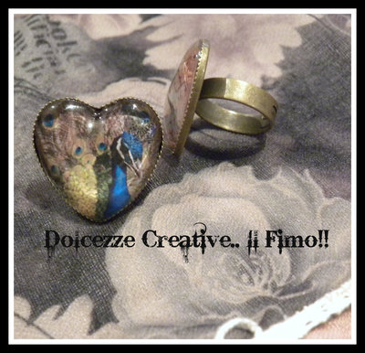 ♠Vintage Time♠ Anello Bronzo Cammeo Cuore Pavone