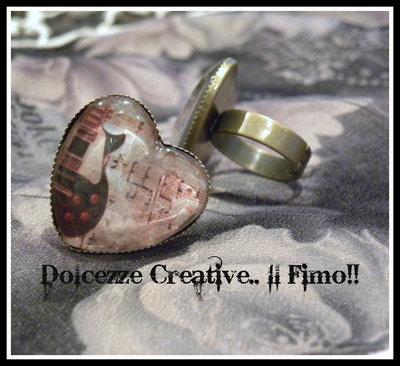 ♠Vintage Time♠ Anello Cammeo Bronzo Chitarra elettrica e note musicali