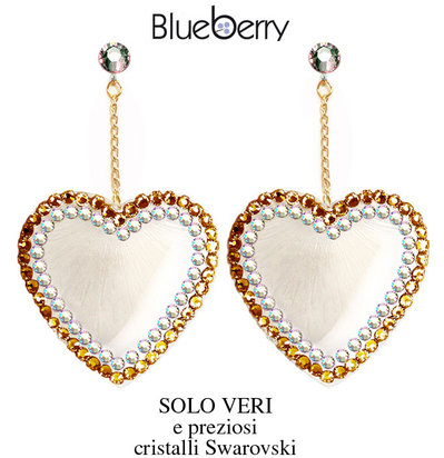 Orecchini BlueBerry Jewels cuori lucite e swarovski heart earrings