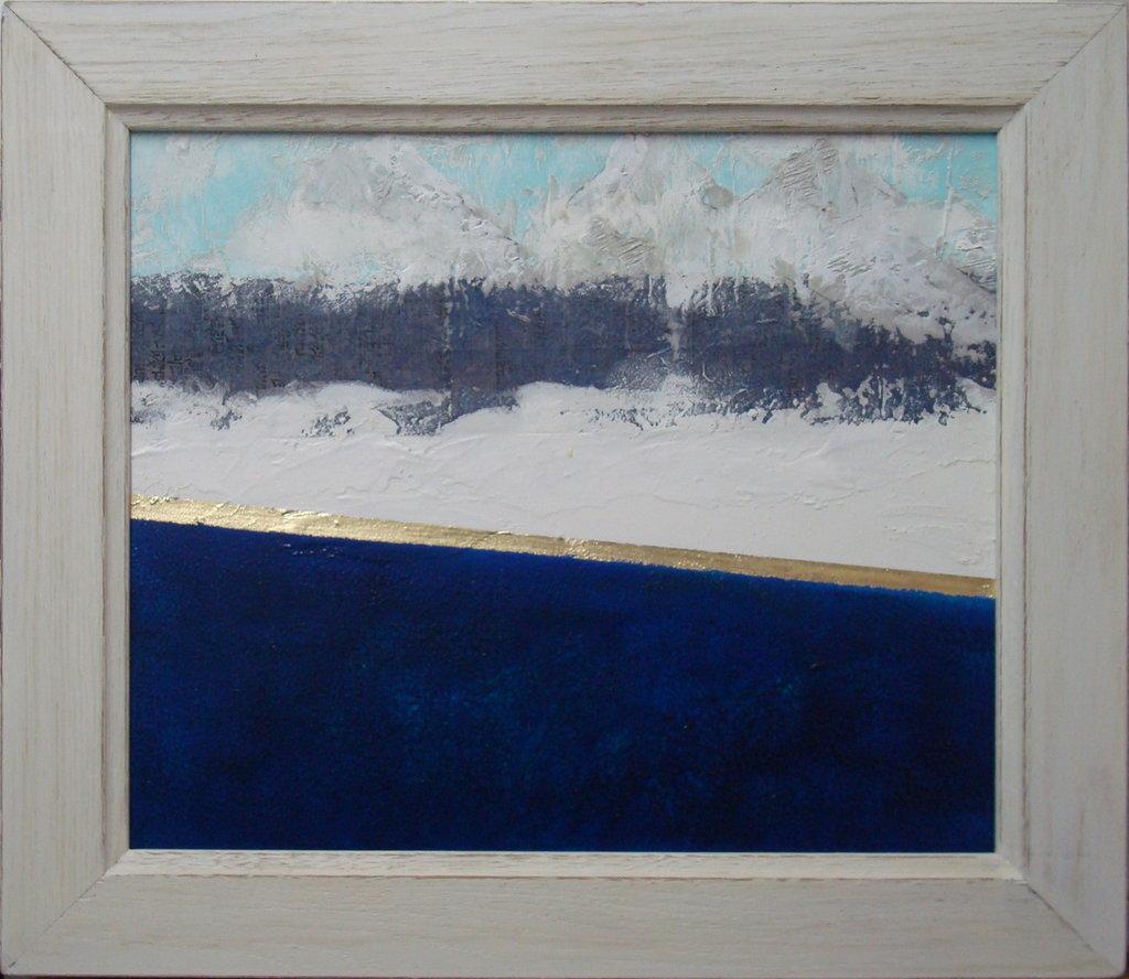 "Dipinto ""Lago di montagna"" cornice shabby"
