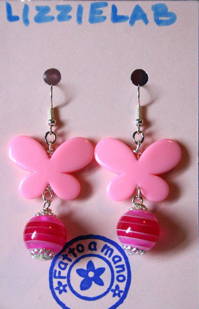Orecchini farfalle rosa