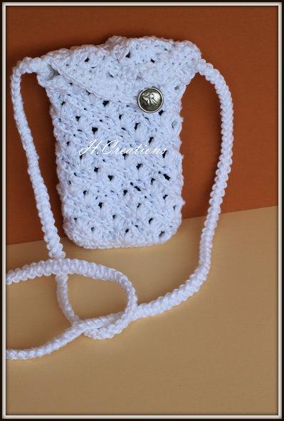 Portacellulare in cotone bianco