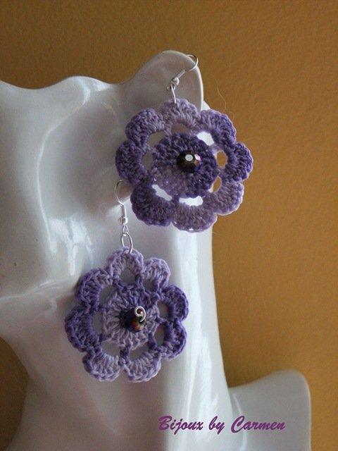 orecchini fiore color glicine