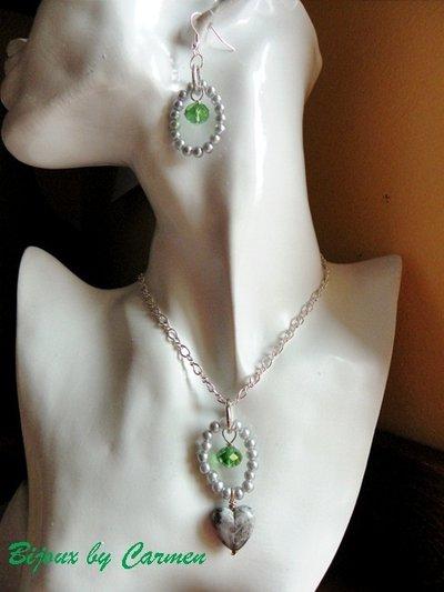PARURE in grigio e verde smeraldo