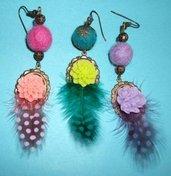 Orecchini Pendenti Mono - Vintage2 - Piume&Cabochon