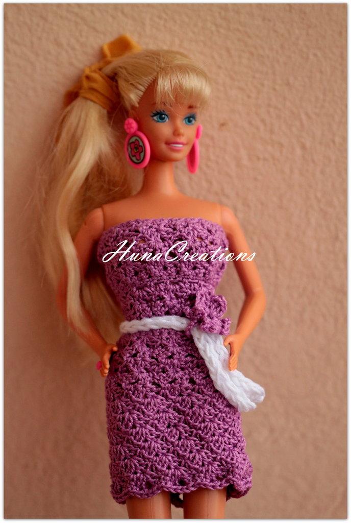 Abito Barbie in filo di scozia viola