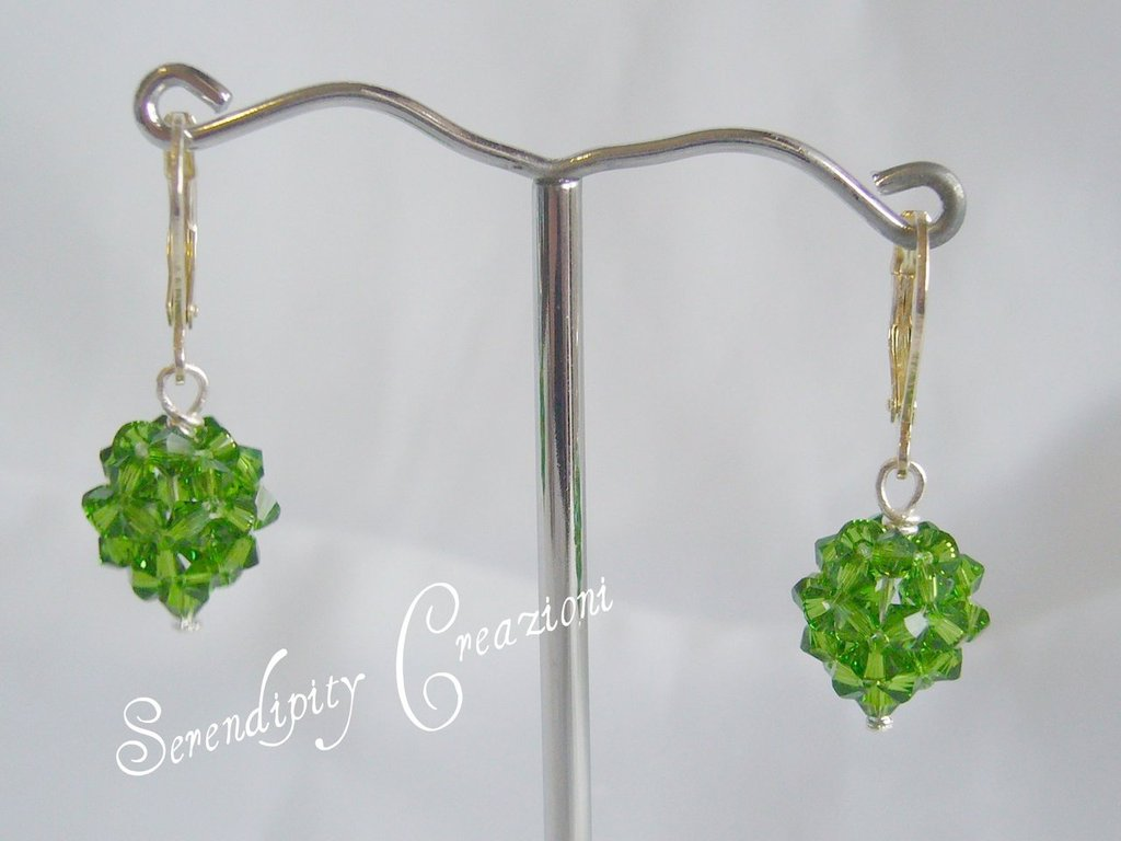 Orecchini Pallina Swarovski Elements color Verde