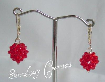 Orecchini Pallina Swarovski Elements color Rosso
