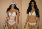 sexy bianco  bikini all'uncinetto con paiette