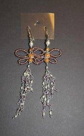 orecchini farfalle perline