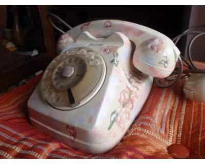telefono a disco decorato decoupage funzionante