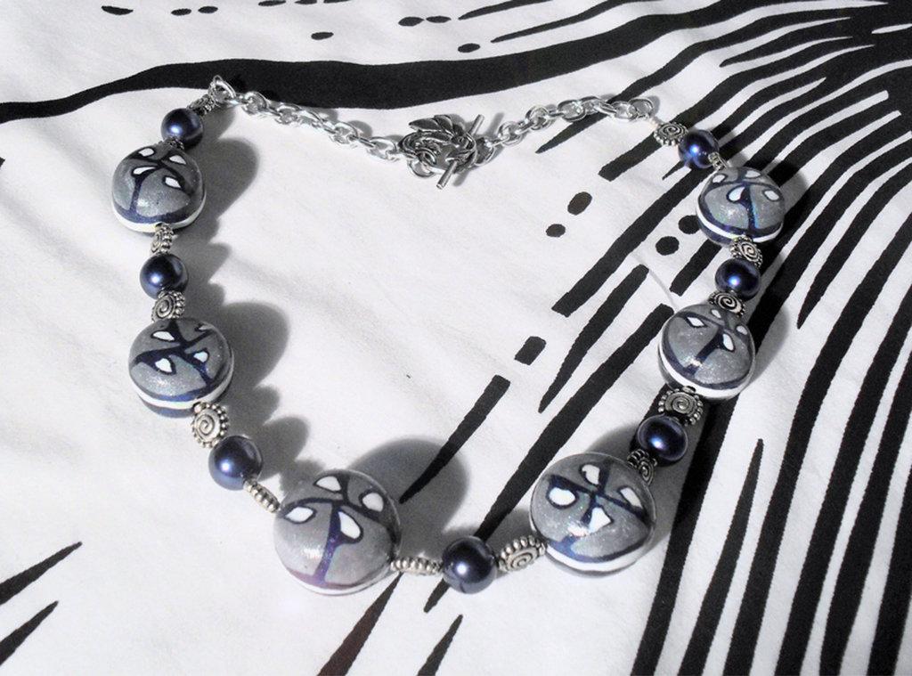Collana blu/argentata