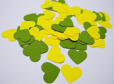 200 Coriandoli Cuore Giallo e Verde, Matrimonio, Decorazioni