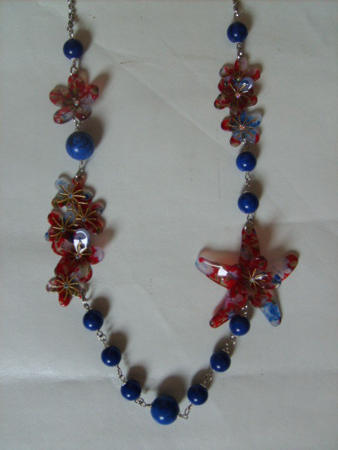 Collana aulite blu fiori resina