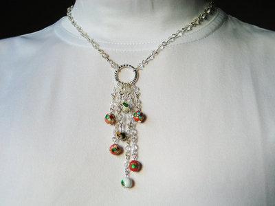 Collana fatta a mano con perle cloisonne