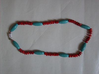 Collana corallo e turchese