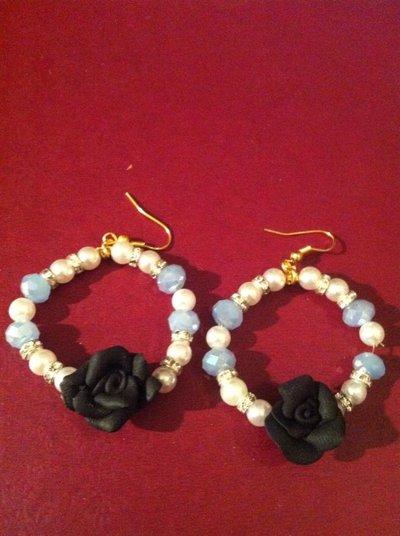 orecchini perle e rosa