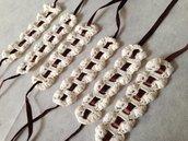 Set sei portatovaglioli porta tovaglioli (mod. 2) fatti a mano all'uncinetto in cotone