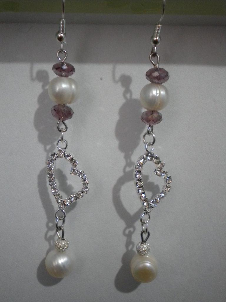 Orecchini perle bianche perline rosa e cuore silver plated