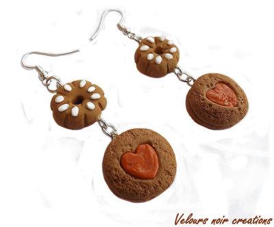 orecchini biscotti bucaneve in fimo