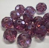 10 Perline Rondelle in Vetro color UVA