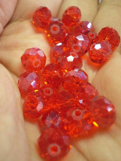 10 Perline Rondelle in Vetro color ROSSO