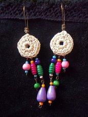 orecchini in cotone cerato e legno