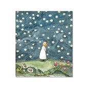 Acquerello originale: bambina osserva cielo stellato