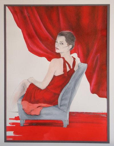 disegno donna in rosso