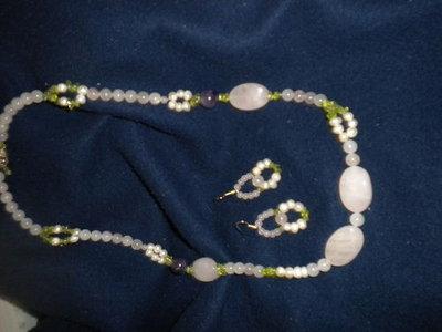 Set collana orecchini donna - quarzo rosa-perle-ametista rosa