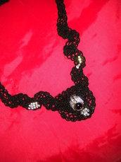 Girocollo donna con perla nera e strass