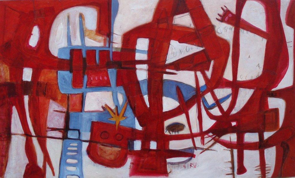 Intrecci urbani - olio su tavola - 100x60