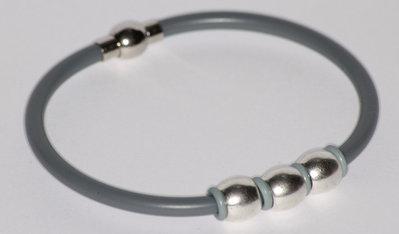 Bracciale in caucciu' grigio unisex
