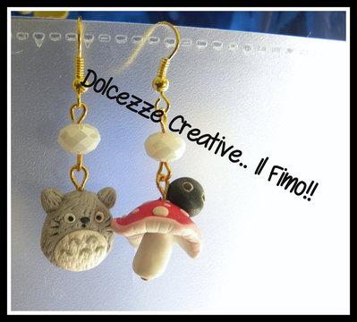 Orecchini Totoro e fungo!