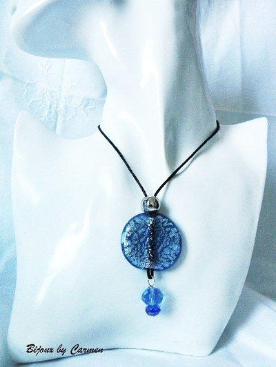 Medaglione in vetro bluette