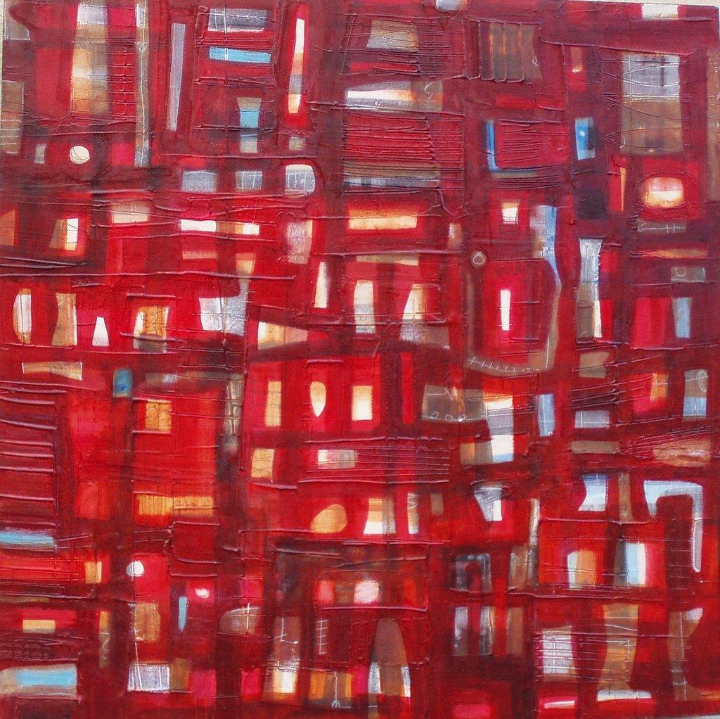 Rosso n.°4 - tecnica mista su tavola - 50x50cm. - anno 2009