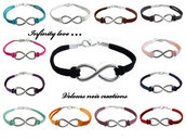 bracciale simbolo INFINITO uomo donna metallo wire laccio suede vari colori