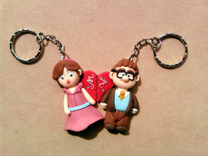 Portachiavi con Carl & Ellie - UP - fimo